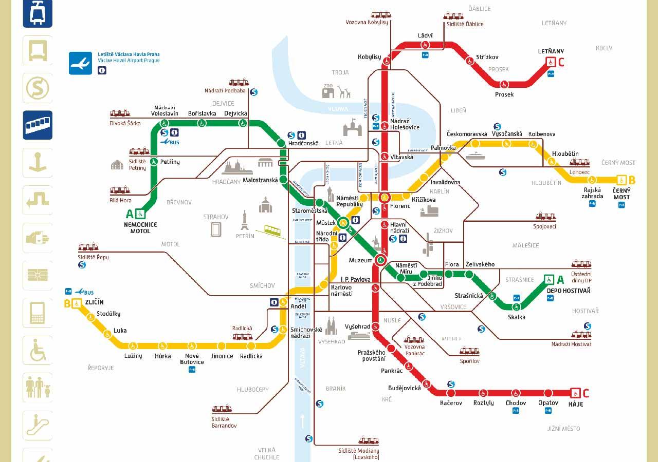 プラハ観光 地下鉄の路線図