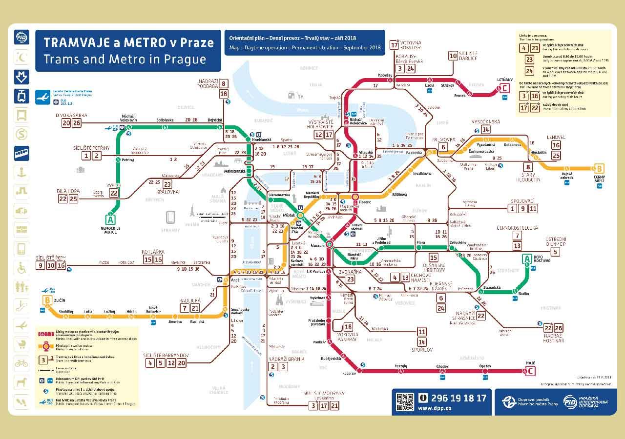 プラハ観光 地下鉄 + トラムの路線図
