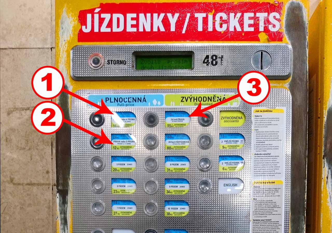 プラハ観光 地下鉄の駅の券売機
