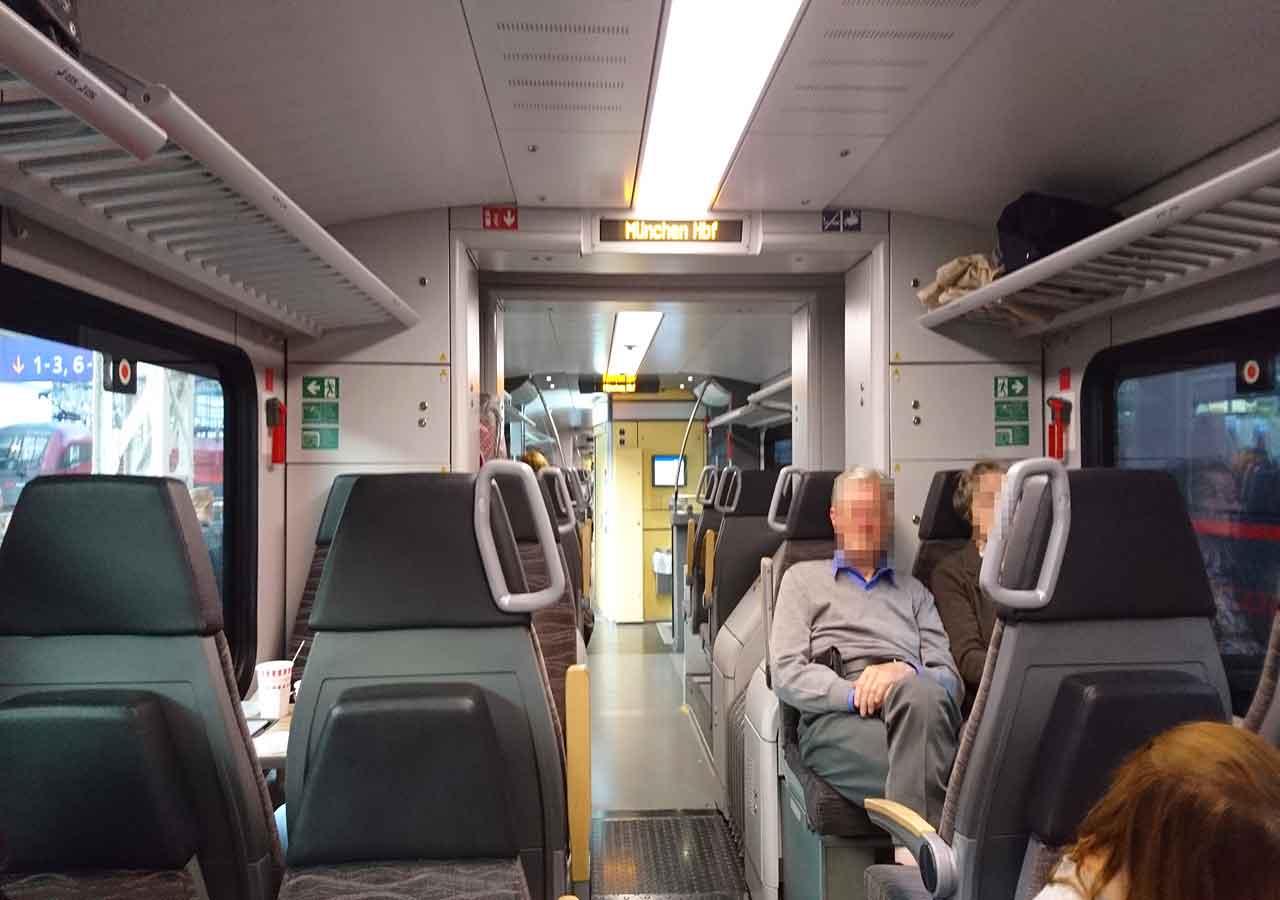 DB(ドイツ鉄道)のメリディアン列車の車内