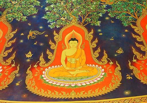 バンコク観光 ワットパクナム(Wat Paknam) 天井画 瞑想する仏陀の絵