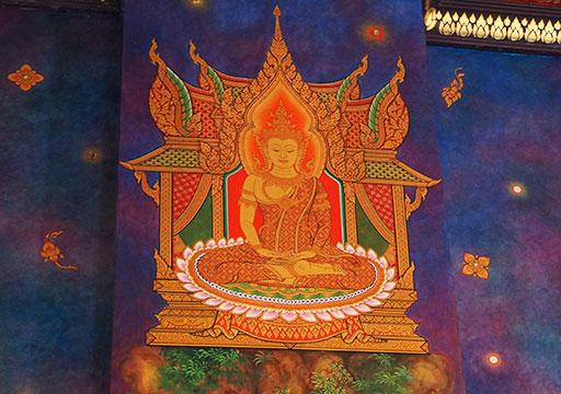 バンコク観光 ワットパクナム(Wat Paknam) 壁の絵