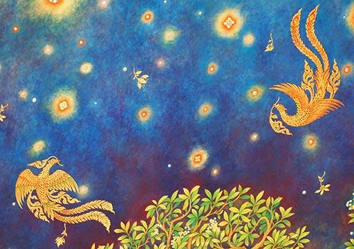 バンコク観光 ワットパクナム(Wat Paknam) 天井画 鳳凰の絵