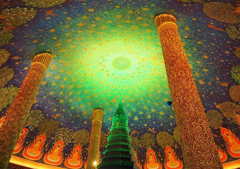 バンコク観光 ワットパクナム(Wat Paknam) 天井画