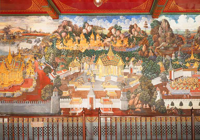 バンコク観光 ワットプラケオ(Wat Phra Kaew) 回廊の絵