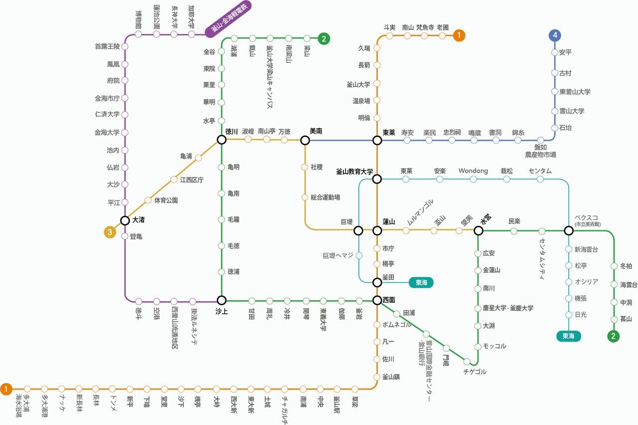 釜山の地下鉄ガイド 釜山の電車の路線図