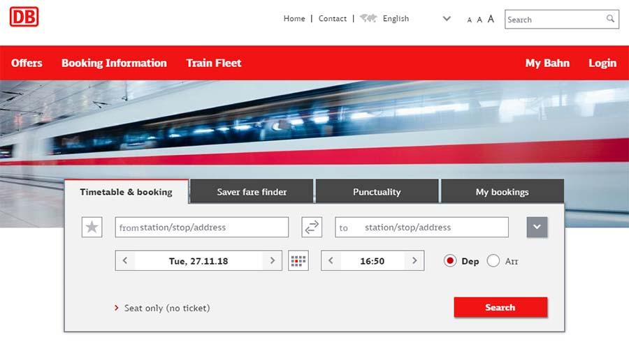 ミュンヘンからウィーンの移動方法 DB予約サイトの画像