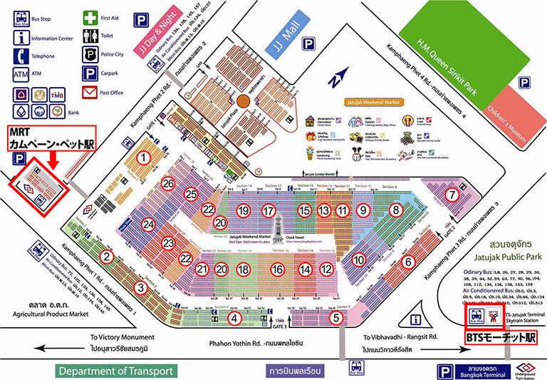 バンコク観光 チャトゥチャックウィークエンドマーケット(Chatuchak Weekend Market) 地図