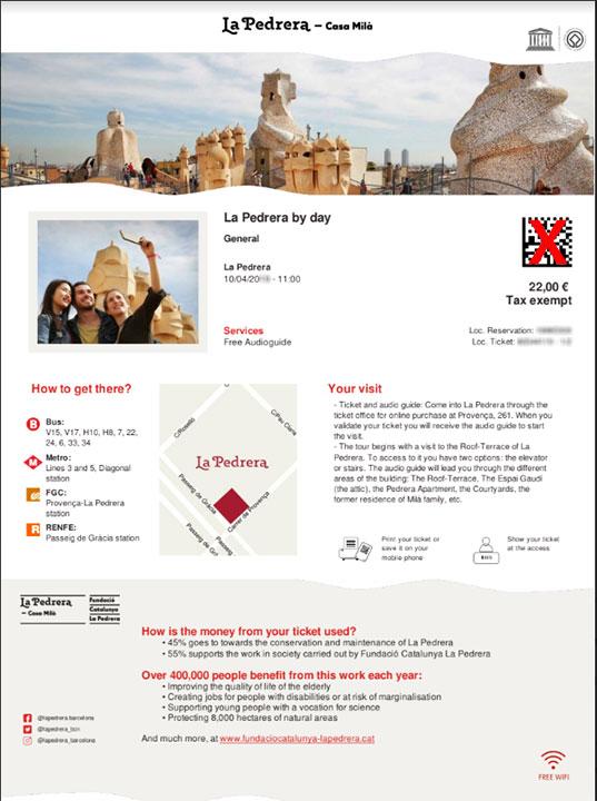 バルセロナ観光 カサミラ(Casa Mil)のチケット予約方法 PDFの通常チケット