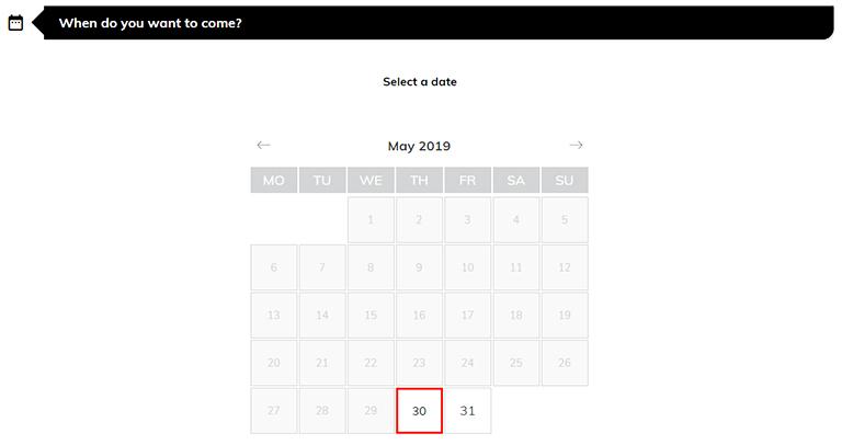 バルセロナ観光 カサミラ(Casa Mil)のチケット予約方法 通常チケットの日にち選択
