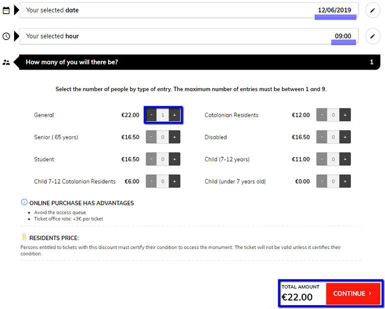 バルセロナ観光 カサミラ(Casa Mil)のチケット予約方法 通常チケットの枚数選択