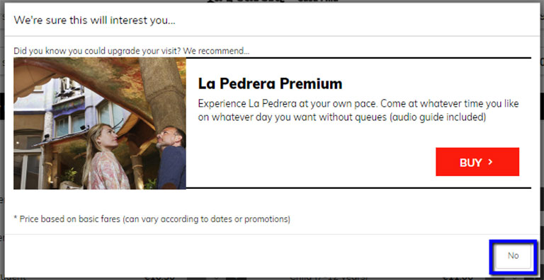 バルセロナ観光 カサミラ(Casa Mil)のチケット予約方法 プレミアムチケットのポップアップ