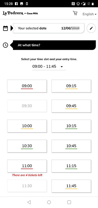 バルセロナ観光 カサミラ(Casa Mil)のスマホでのチケット予約方法 時間選択の画像