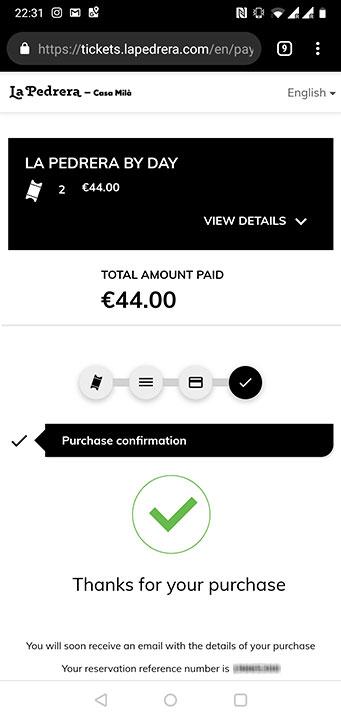 バルセロナ観光 カサミラ(Casa Mil)のスマホでのチケット予約方法 購入完了画面