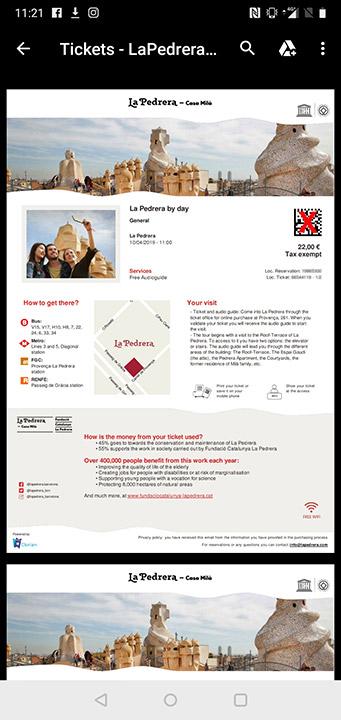 バルセロナ観光 カサミラ(Casa Mil)のスマホでのチケット予約方法 PDFチケット
