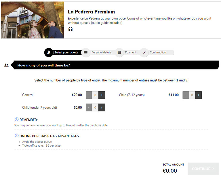 バルセロナ観光 カサミラ(Casa Mil)のチケット予約方法 プレミアムチケット1ページ目