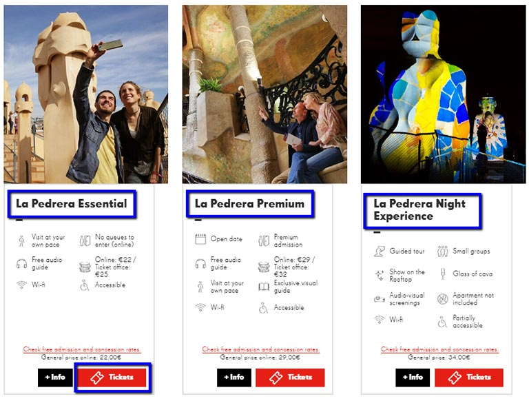 バルセロナ観光 カサミラ(Casa Mil)のチケット予約方法 チケットの選択