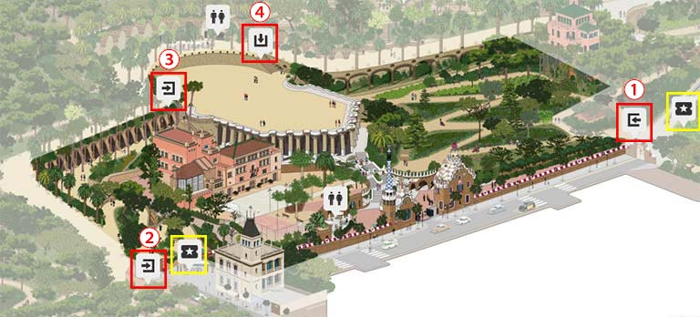 バルセロナ観光 グエル公園(Park Güell) 有料ゾーンの入口の地図
