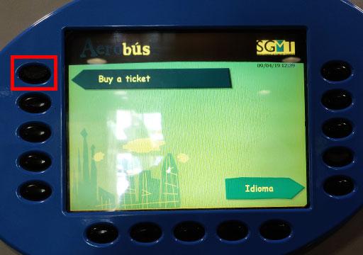 バルセロナ観光 バルセロナ空港から市内のアクセス 空港バス(アエロバス)の券売機 買い方