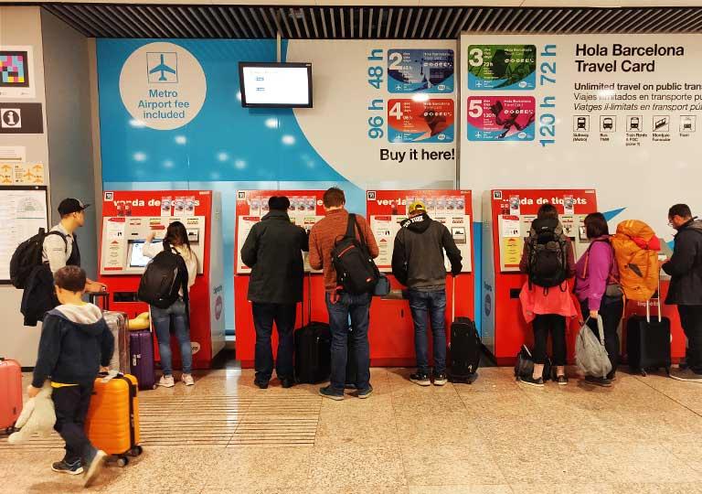 バルセロナ観光 バルセロナ空港 地下鉄の自動券売機