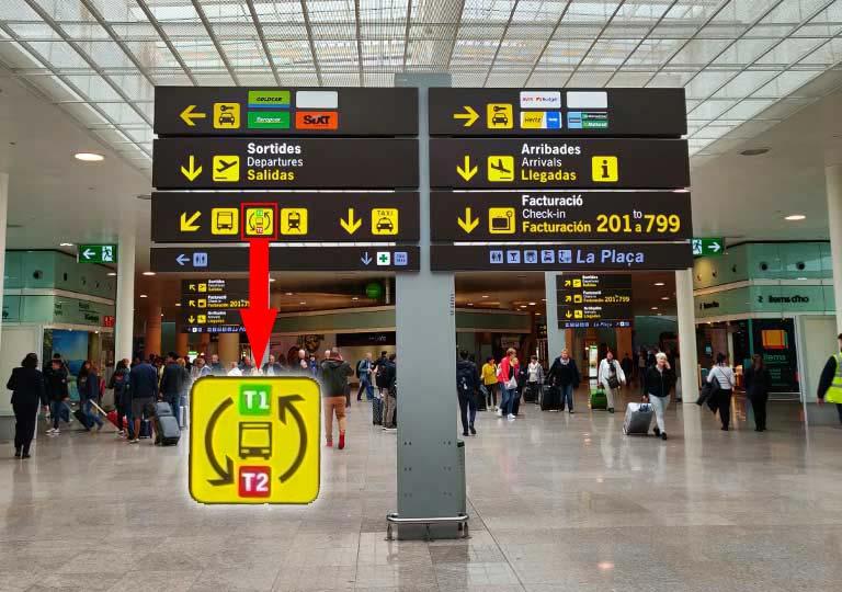 バルセロナ観光 バルセロナ空港 シャトルバスの案内標識