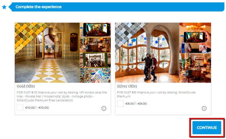 バルセロナ観光 カサバトリョ(Casa Batlló) チケット予約方法 ④チケットタイプを選択