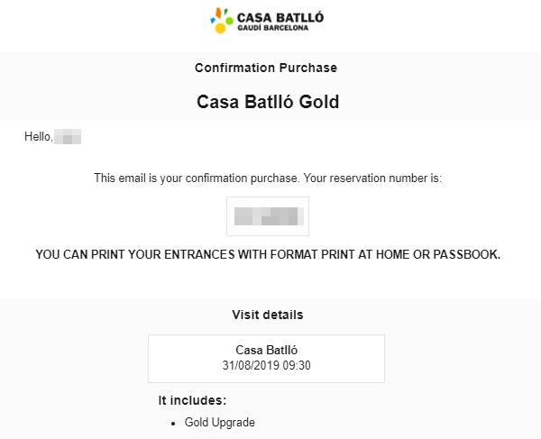 バルセロナ観光 カサバトリョ(Casa Batlló) チケット予約方法 ⑨メールで送られてくるチケットを確認・印刷する