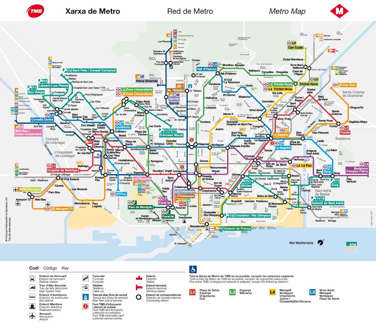 バルセロナ観光 地下鉄(メトロ)の路線図