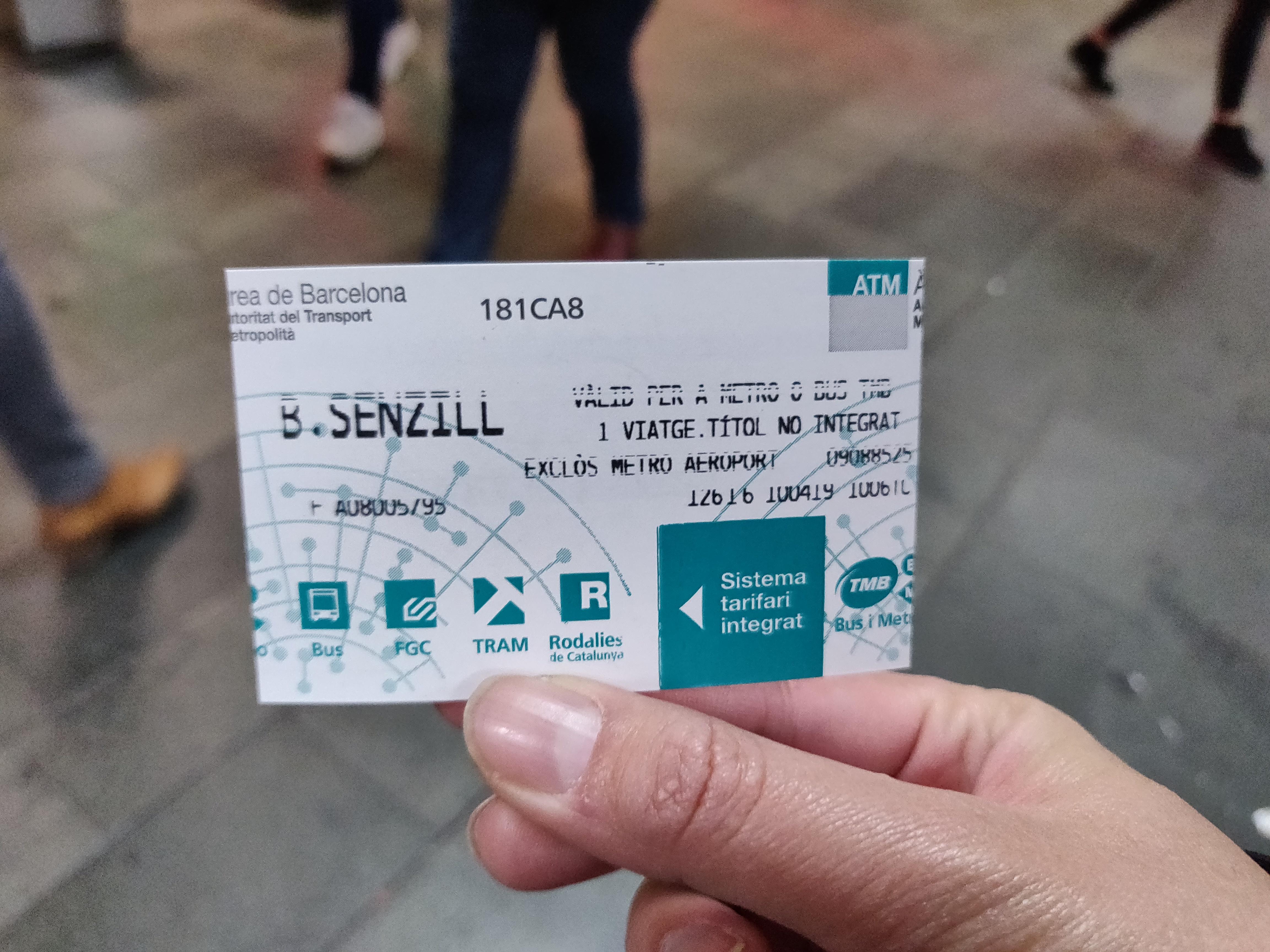 バルセロナ観光 地下鉄(メトロ)の切符 シングルチケット