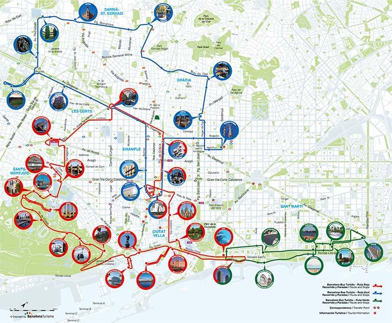 バルセロナ観光 バルセロナ・バス・ツーリ スティックの路線図