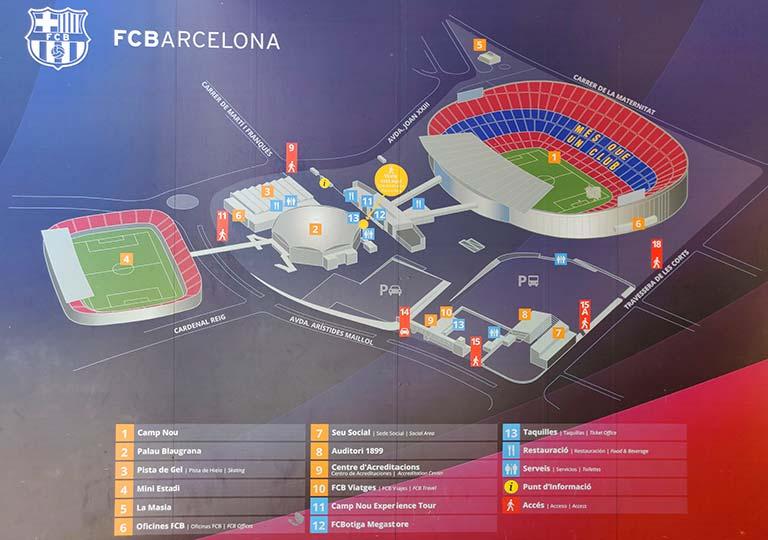 バルセロナ カンプノウ・スタジアムの地図