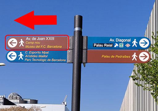バルセロナ カンプノウ・スタジアム 案内標識