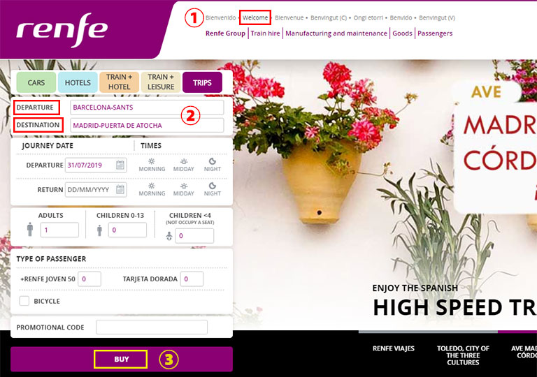 Renfe(レンフェ)公式サイト チケット購入方法
