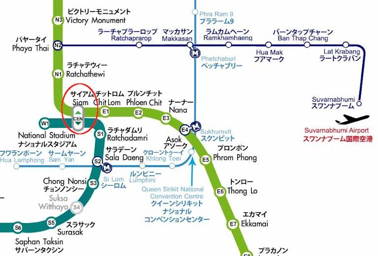 バンコク BTSスカイトレインの路線図