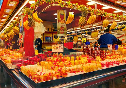 バルセロナグルメ ボケリア市場 フレッシュフルーツジュースのお店