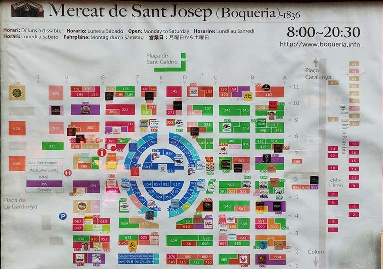 バルセロナグルメ ボケリア市場の地図