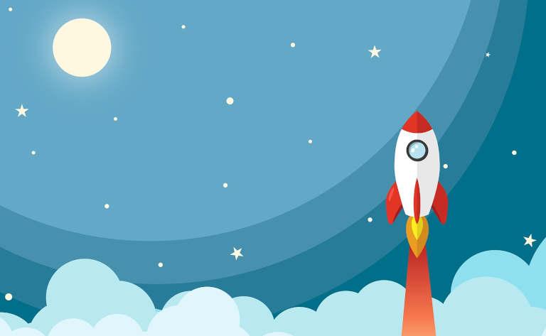 宇宙と上昇するロケット