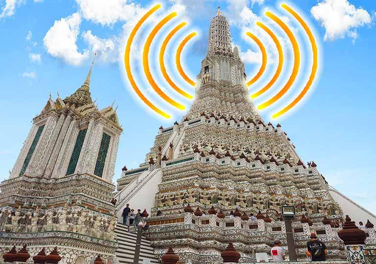 バンコクのワットアルンとWiFiのロゴ