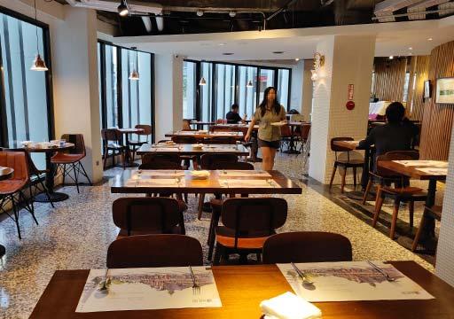台中 1969ブルースカイホテル(1969 藍天飯店) 朝食ビュッフェの会場