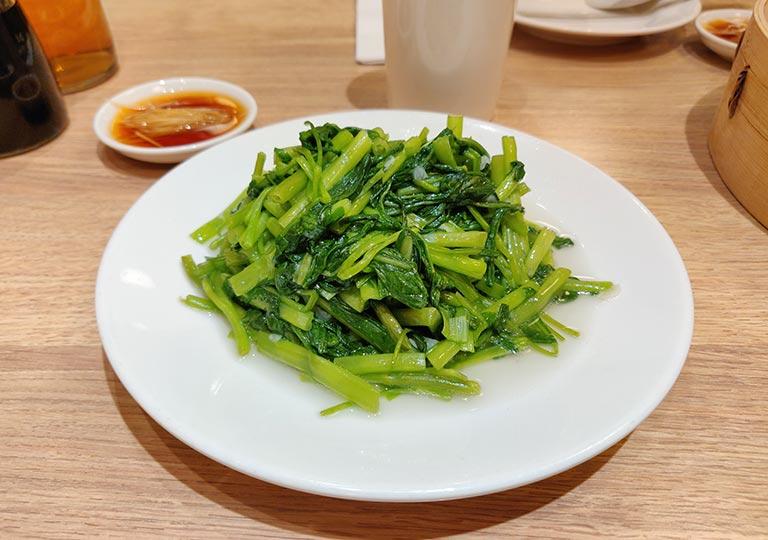 ディンタイフォン台北本店の料理 空心菜炒め