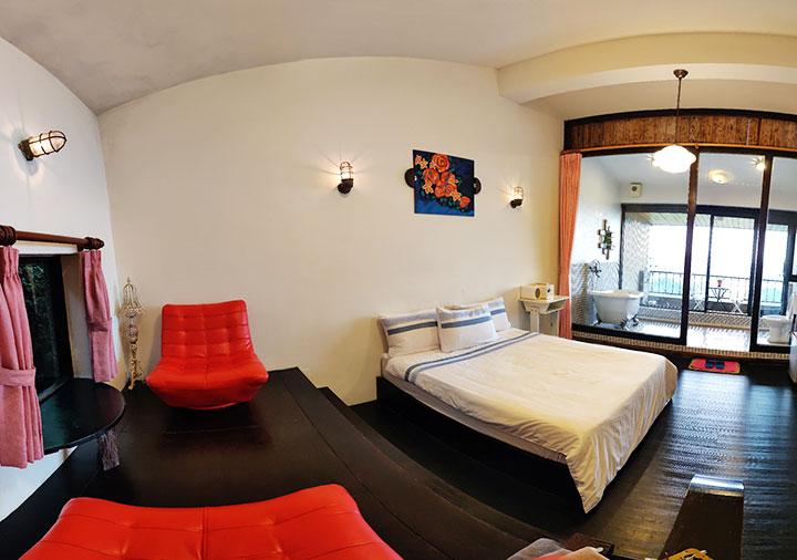 九份 サニールーム(陽光味宿) 客室のパノラマ画像