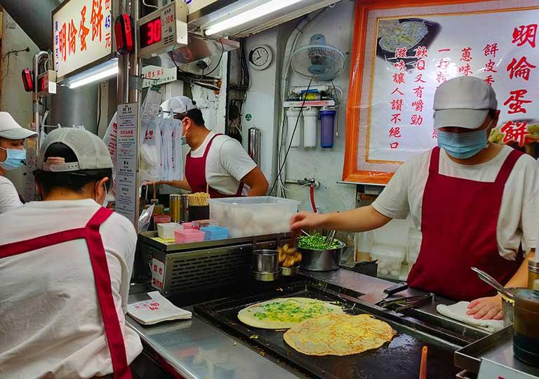 台中 逢甲夜市のグルメ 台湾の蛋餅