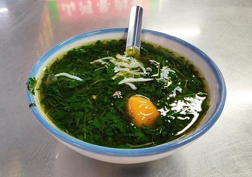 台中 第二市場のグルメ モロヘイヤスープ