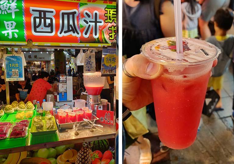 台北 寧夏夜市のグルメ スイカジュース