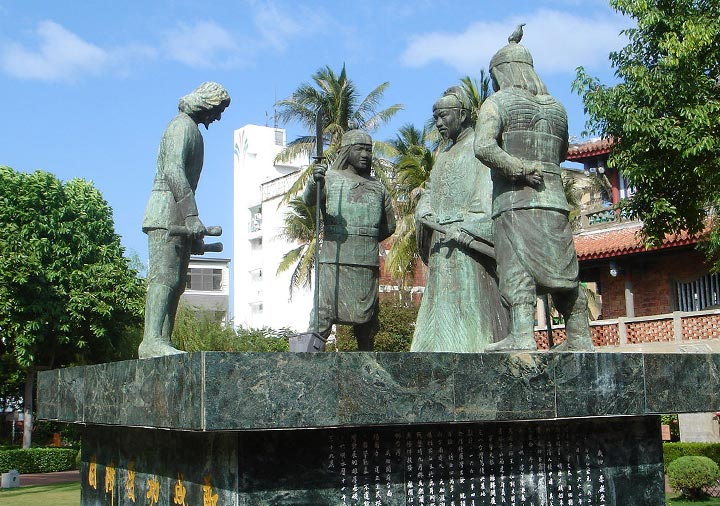 台南 赤崁楼の鄭成功和議の像