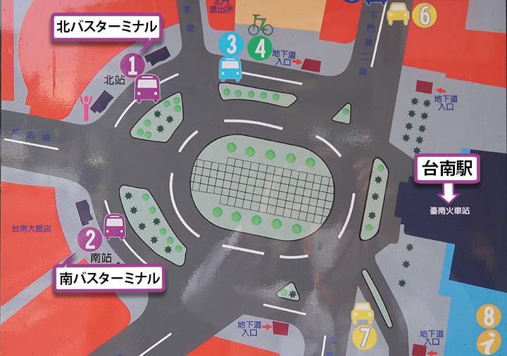 バスターミナルのマップ