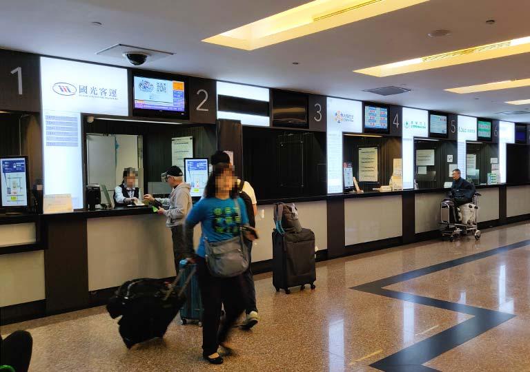 台北 桃園空港のバス切符売り場