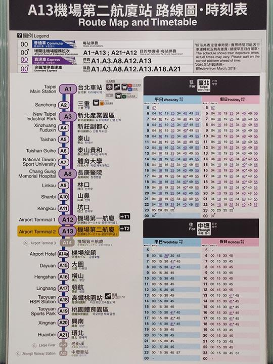 台北の桃園空港 MRT(地下鉄)の時刻表