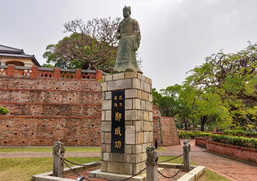 台南 安平古堡の鄭成功の像