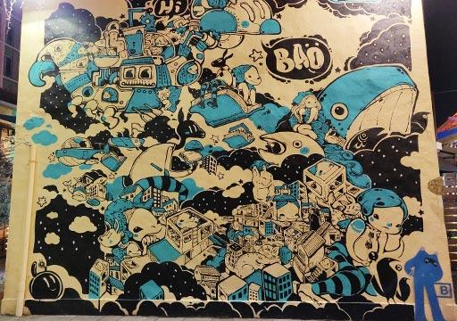 台南 藍晒図文創園区の壁画